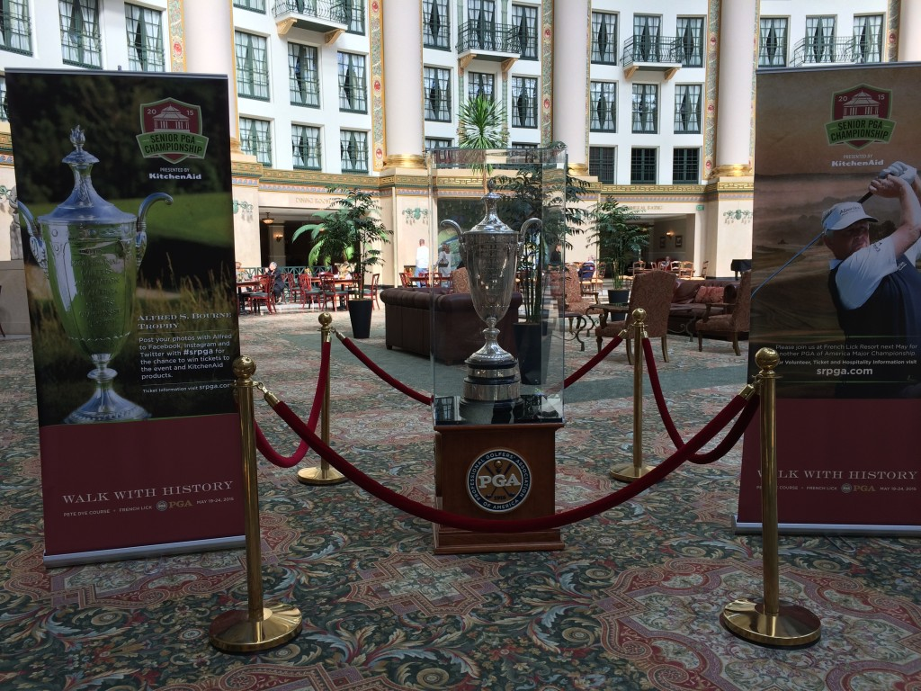 Display of the Alfred S. Bourne Trophy inside the dome of the West Baden Springs Hotel, October 2014
